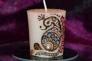 Small Candle with beautiful mehndi design