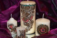 Set of 4 candles with beautiful mehndi design