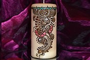 Large Candle with beautiful mehndi design