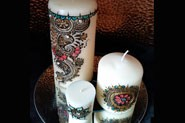 Set of 3 candles with beautiful mehndi design