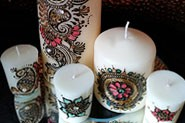 Set of 5 candles with beautiful mehndi design