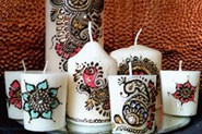 Set of 7 candles with beautiful mehndi design